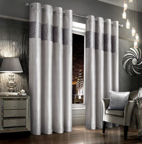 SILVER GREY VELVET GLITZY FAUX SILK DESIGN LINED RINGTOP EYELET LUXURY MODERN CURTAINS